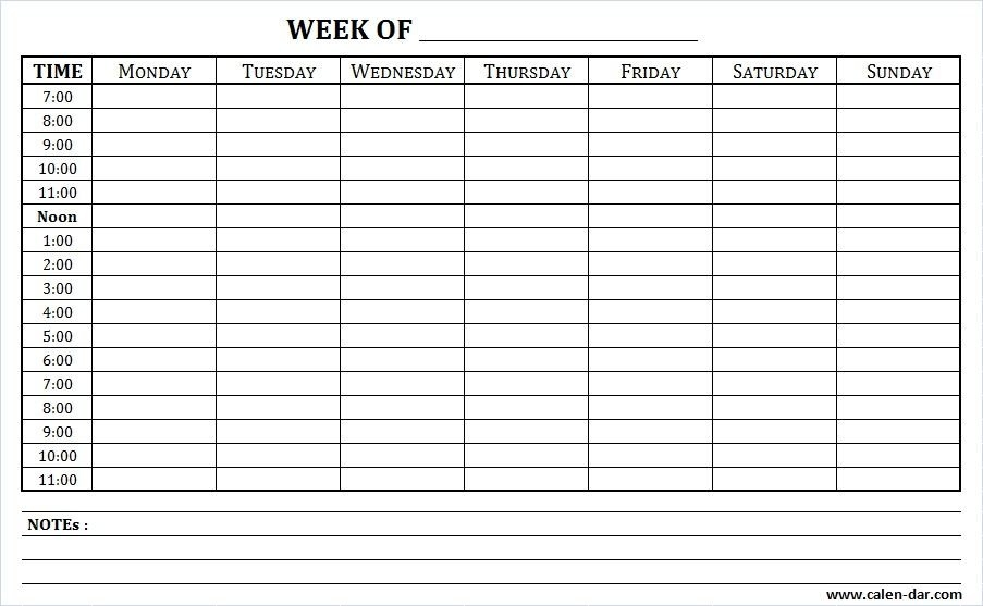 Free Blank Planner For Weekly Schedule Printable With Times regarding Sunday Through Sunday Calendar With Hours Photo