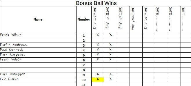Free Bonus Ball Template | Keep Track Of Winners | Pdf within Lotto Bonus Number Raffle Template