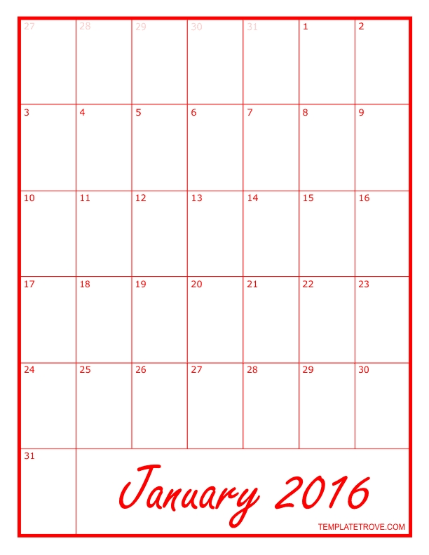 Free Calendars To Print   Pdf Calendars for Printable Monthly Calendar 8 1/2 X 11 Image