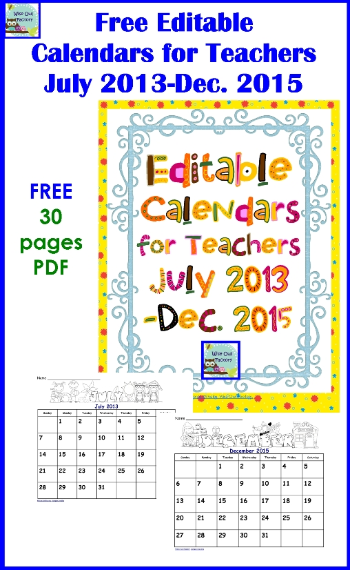 Free Editable Calendarscarolyn From Wise Owl Factory At for Wise Owl Calendars Image