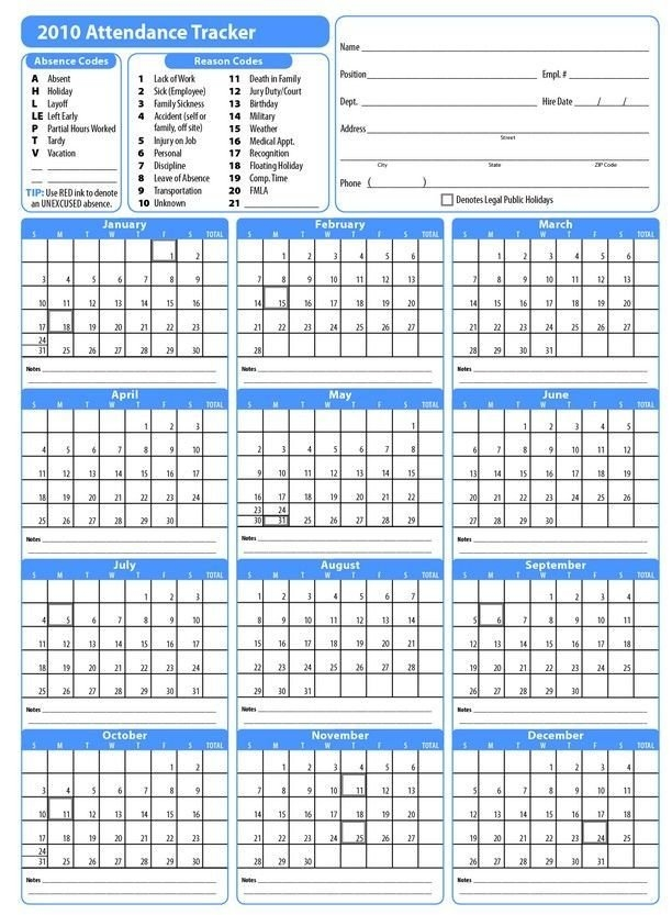 Free Employee Attendance Calendar (With Images) | Attendance within Free Printable Employee Vacation Calendar Graphics