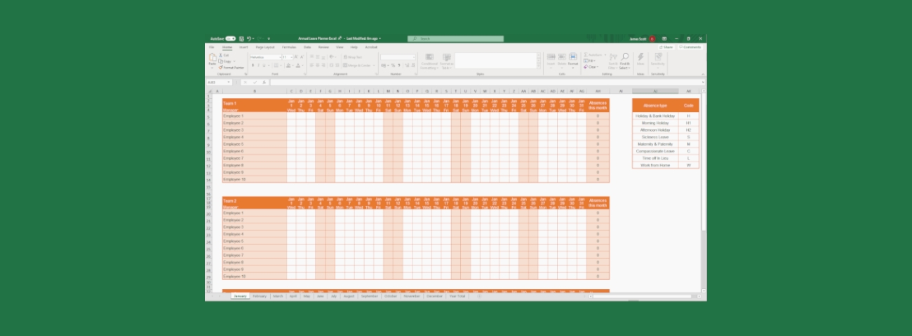 Free Excel Holiday Planner Template   E-Days with Annual Leave Planner Template Via Excel Graphics