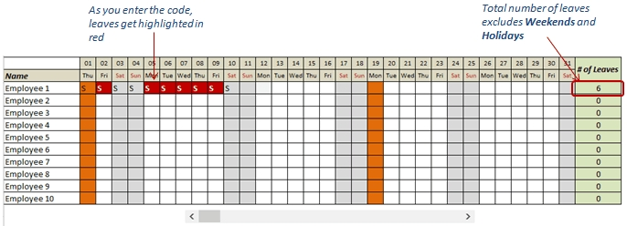 Free Excel Leave Tracker Template (Updated For 2020) with regard to Free Online Employee Vacation Calendar Image