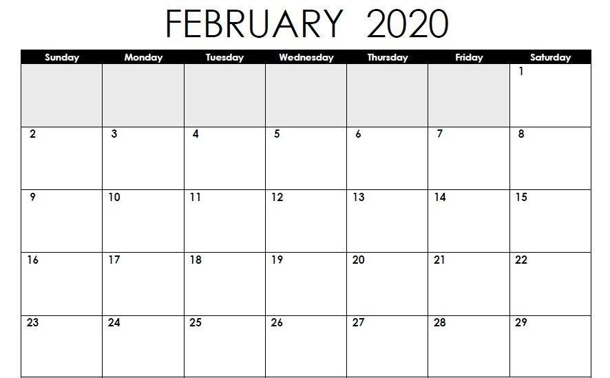 Free February 2020 Calendar Printable Pdf Excel Portrait for Printable Calendar 2020 Monthly No Weekends