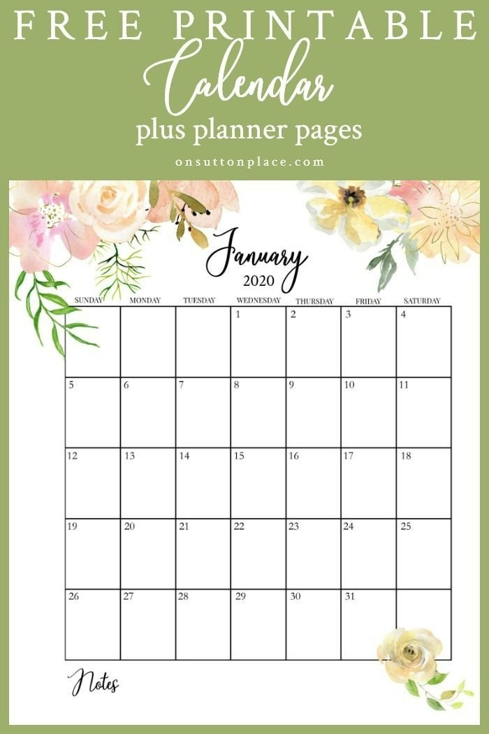 Free Floral 2020 Printable Calendar In 2020 | Printable pertaining to Guess The Due Date Calendar Template February 2020