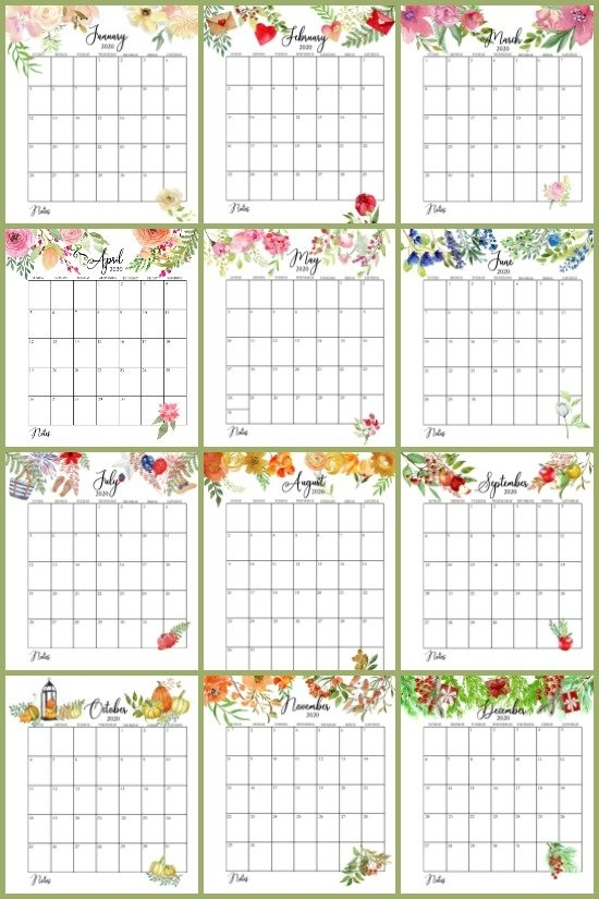 Free Floral 2020 Printable Calendar | On Sutton Place with regard to Free Printable Lined Monthly Calendar 2020 Image