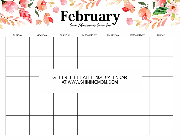 Free Fully Editable 2020 Calendar Template In Word | 2020 throughout Free Calendar Typeable Template Image