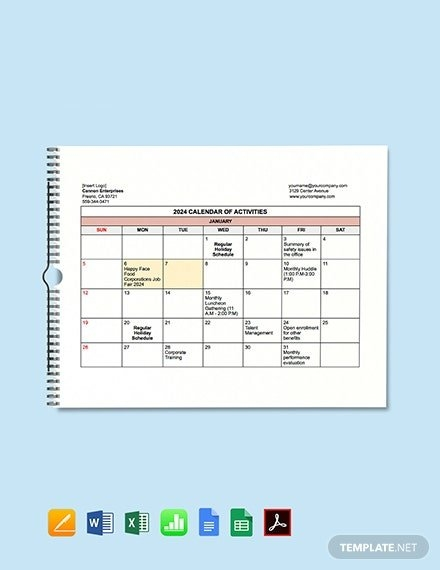 Free Hr Calendar Templates - Apple Numbers | Template for Hr Calender