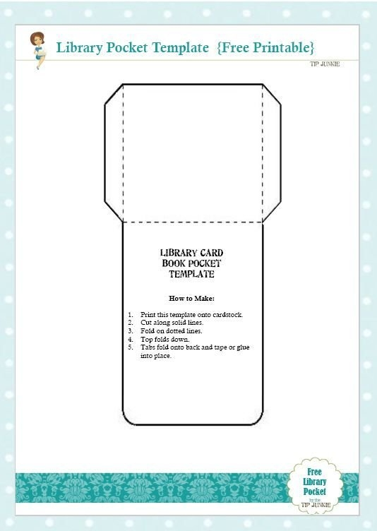 Free Library Card Book Pocket Template Printable | Card Book with Small Pocket Size Calendar Booklet Free Template Image