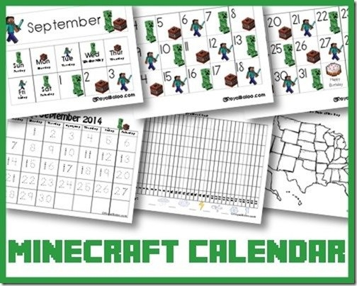 Free Minecraft Calendar Cards And Notebook - Royal Baloo intended for Minecraft Free Calendar Image