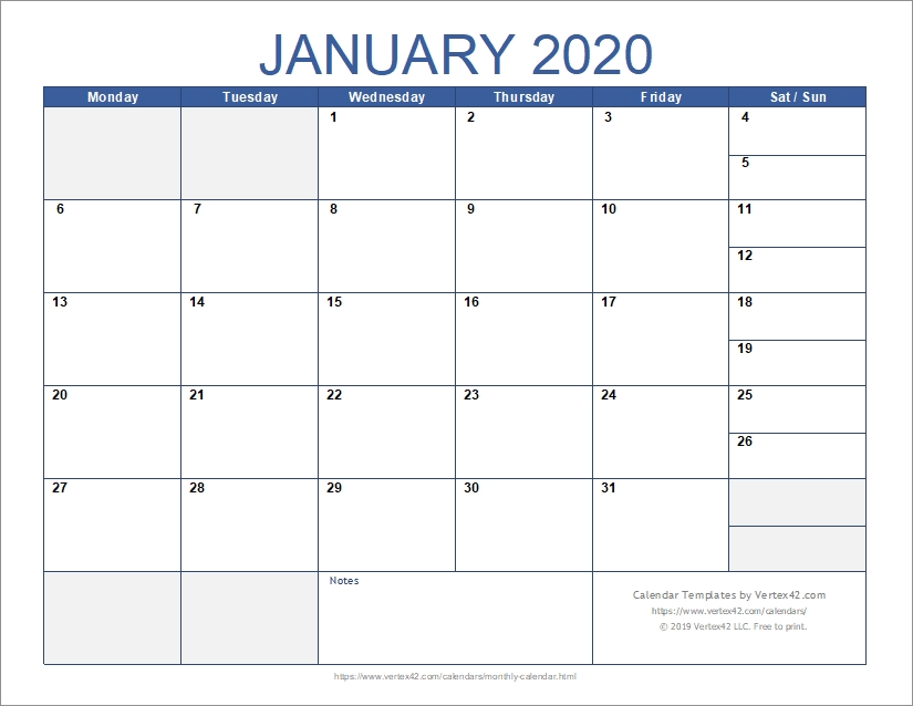 Free Monthly Calendar Template For Excel intended for Printable Calendar 2020 Monthly No Weekends Photo