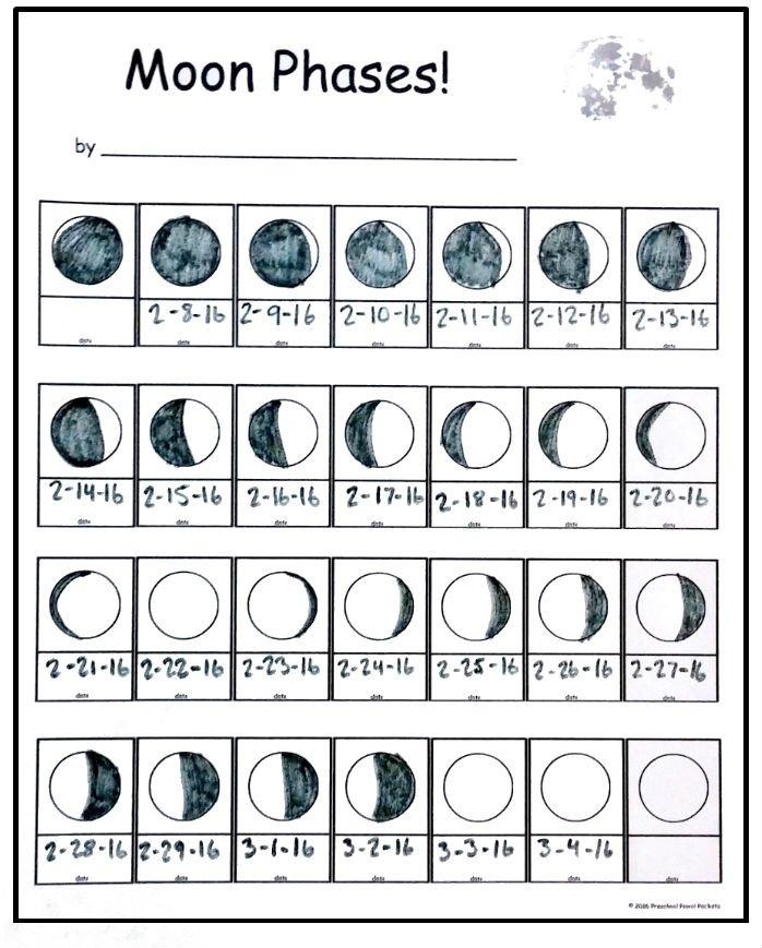 Free} Moon Phase Tracking Printable!   Preschool Powol Packets throughout Moon Observation Calendar Worksheet