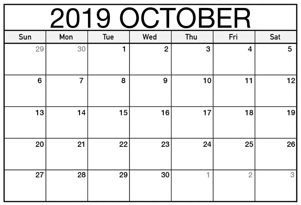 Free October 2019 Calendar Printable - Blank Templates intended for Extra Large Printable Calendar