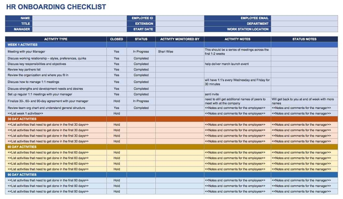 Free Onboarding Checklists And Templates | Smartsheet throughout Onboarding Schedule Template Graphics