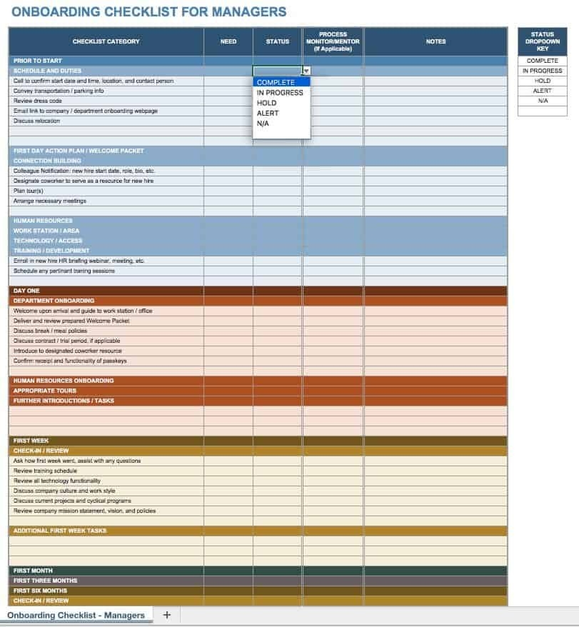 Free Onboarding Checklists And Templates | Smartsheet with regard to Onboarding Schedule Template Graphics