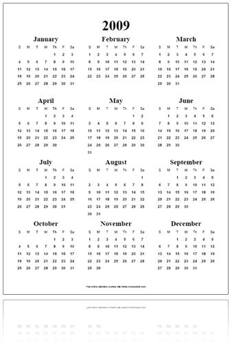 Free Online Calendar Pdf - Year On A Page with 11X17 2020 Calendar Pdf
