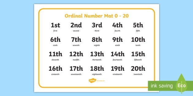Free! - Ordinal Numbers To 20 (Teacher Made) in September Calendar With Ordinal Numbers