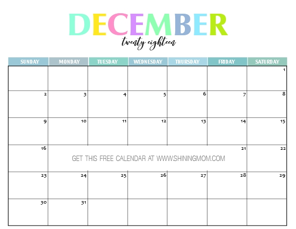 Free Printable 2018 Calendar: Pretty And Colorful! pertaining to Calendar You Can Write In Free