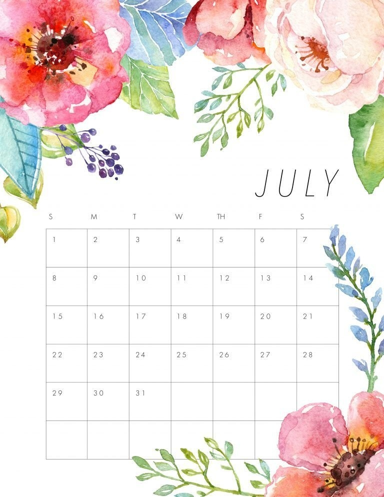 Free Printable 2018 Floral Calendar - The Cottage Market with regard to Calender To Fill Out
