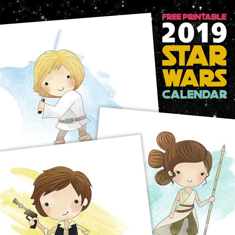 Free Printable 2019 Star Wars Calendar - The Cottage Market for Printable Star Wars Calendar