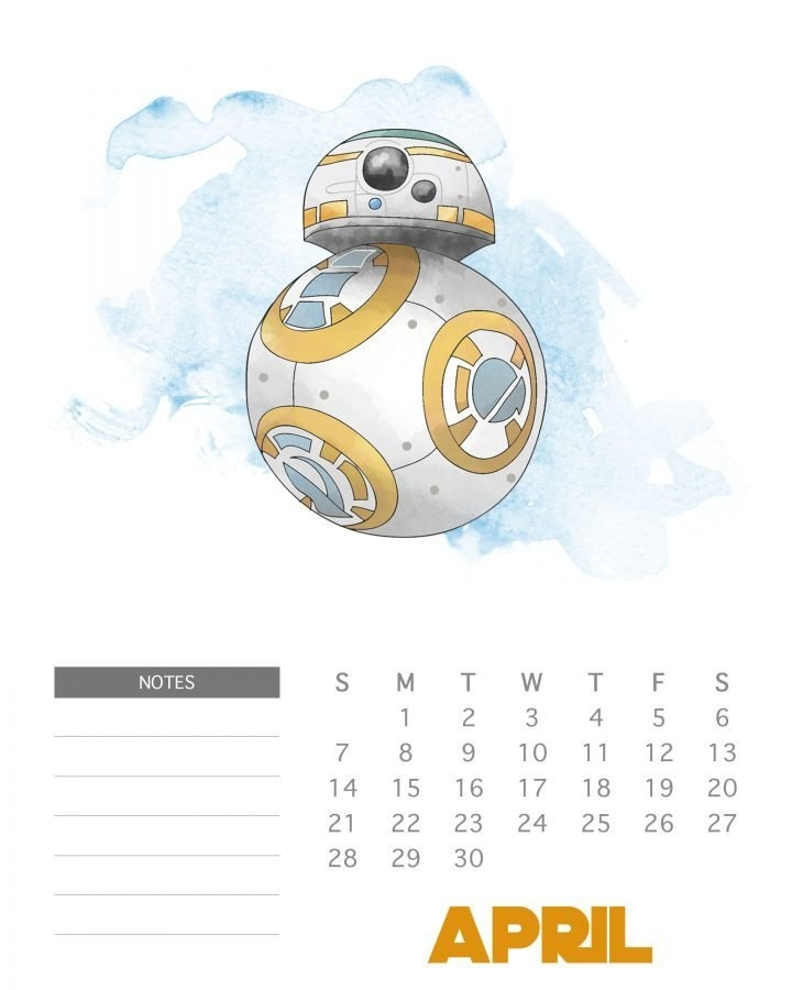 Free Printable 2019 Star Wars Calendar - The Cottage Market inside Printable Star Wars Calendar