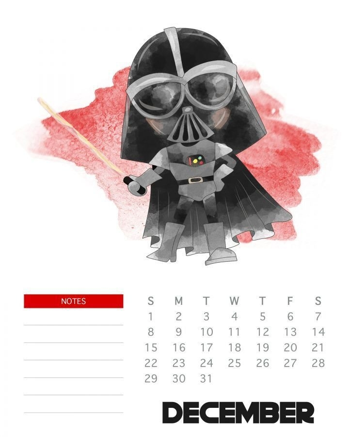 Free Printable 2019 Star Wars Calendar - The Cottage Market intended for Printable Star Wars Calendar Photo