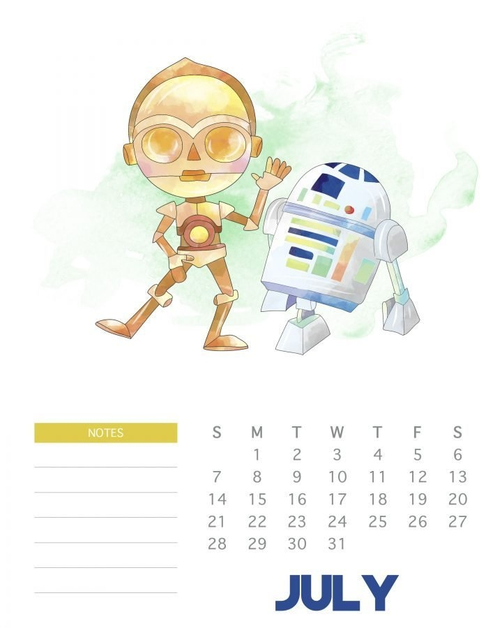 Free Printable 2019 Star Wars Calendar - The Cottage Market intended for Printable Star Wars Calendar