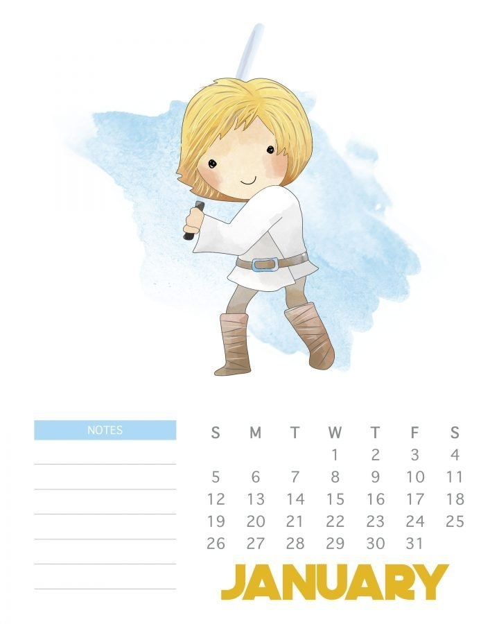 Free Printable 2020 Star Wars Calendar - The Cottage Market with regard to Printable Star Wars Calendar Photo