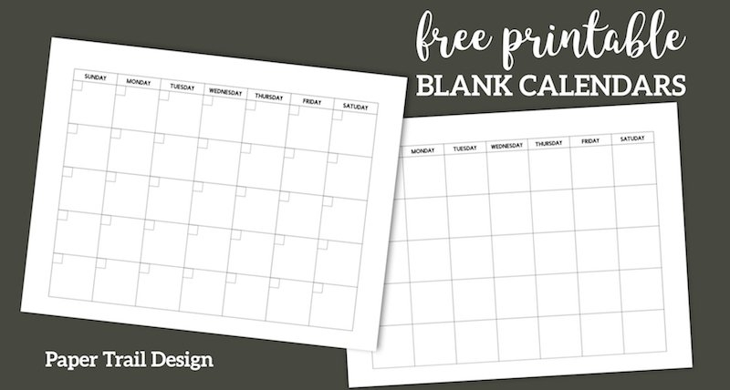 Free Printable Blank Calendar Template | Paper Trail Design throughout Downloadable Calendar To Fill In And Print Off