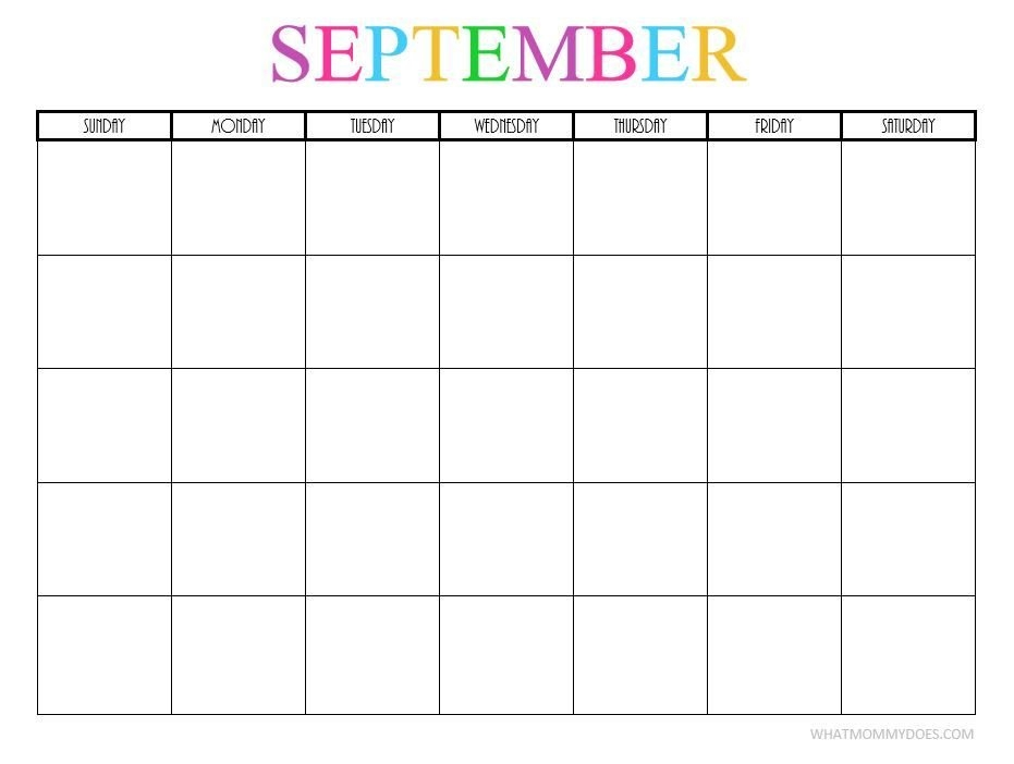 Free Printable Blank Monthly Calendars – 2019, 2020, 2021 in Blank Monthly Calendar Printable Image