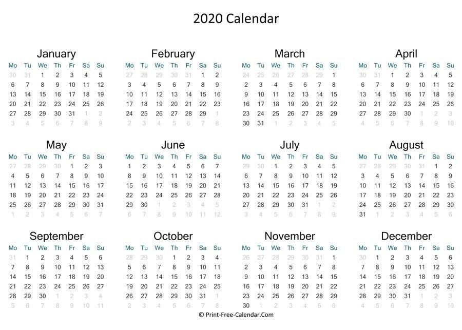 Free Printable Calendar 2020 Landscape Di 2020 inside No Frills Calendar