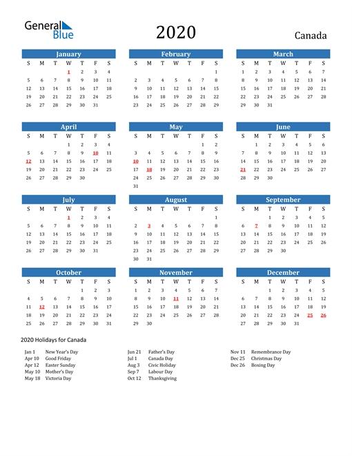Free Printable Calendar In Pdf, Word And Excel - Canada regarding 2020 Calendar Pdf