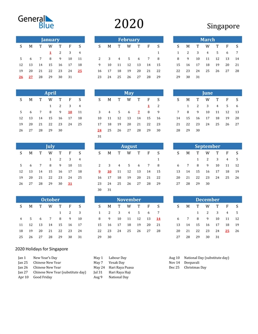 Free Printable Calendar In Pdf, Word And Excel - Singapore with 2020 Calendar Softcopy Image