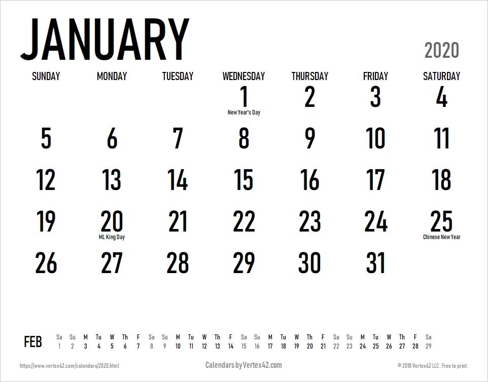 Free Printable Calendar - Printable Monthly Calendars for No Frills Basic Calendar 2020