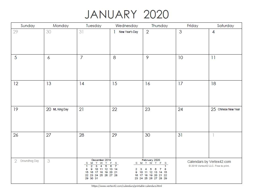 Free Printable Calendar - Printable Monthly Calendars in Printable Monthly Calendar 2020