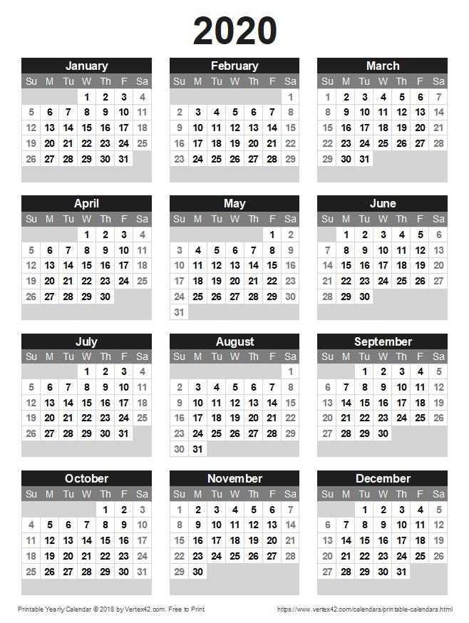 Free Printable Calendar - Printable Monthly Calendars regarding Printable 2020 Monthly Calendar Template