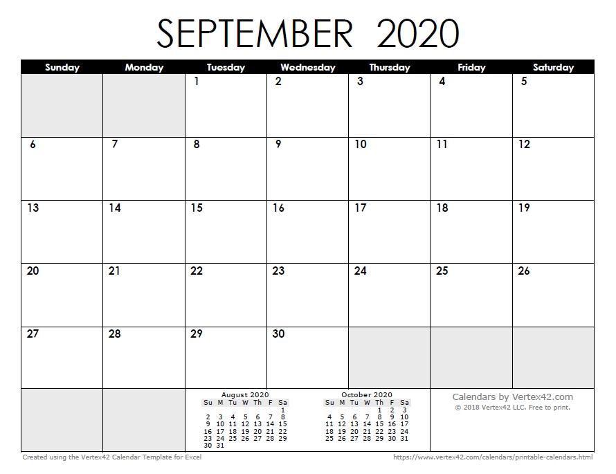 Free Printable Calendar - Printable Monthly Calendars with No Frills Basic Calendar 2020