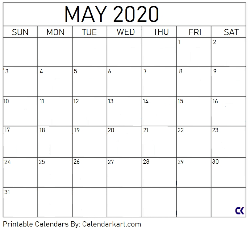 Free Printable Calendar Templates 2020 » Calendarkart for Large Block Monthly Calender Template