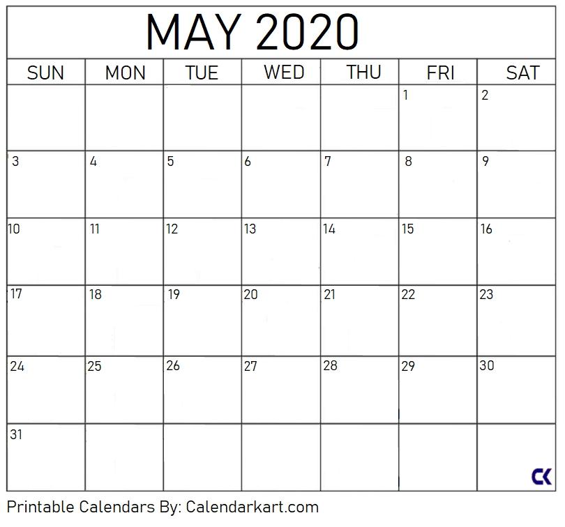 Free Printable Calendar Templates 2020 » Calendarkart pertaining to Large Block Calendar Template Image