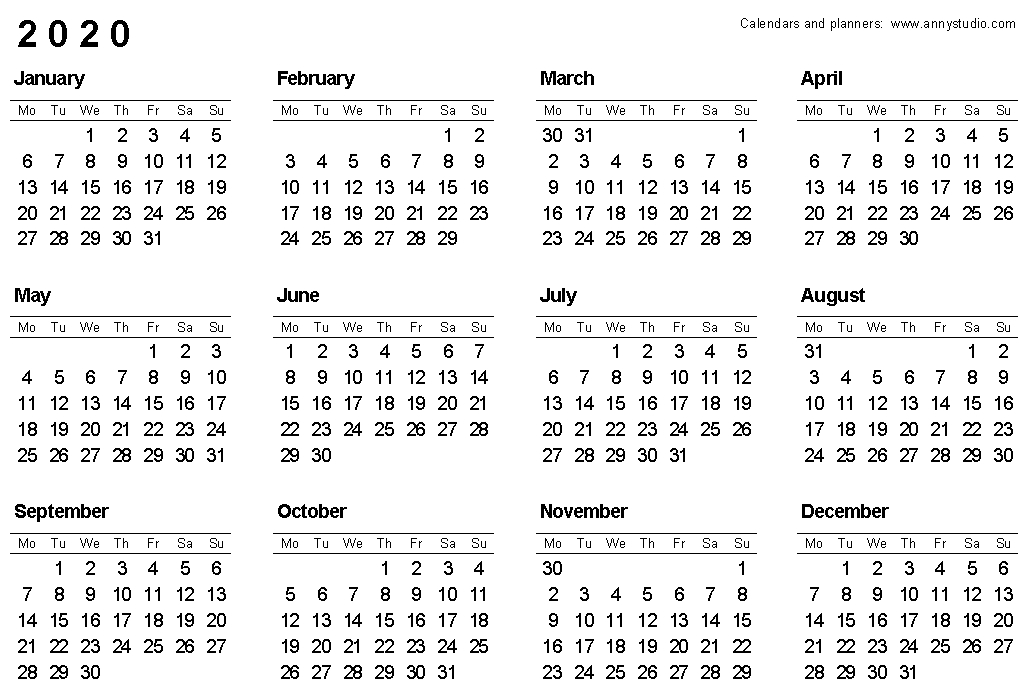 Free Printable Calendars And Planners 2020, 2021, 2022 pertaining to 2020 Calendar Softcopy