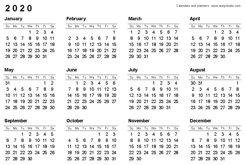 Free Printable Calendars And Planners 2020, 2021, 2022 with regard to 2020 Calendar Softcopy Image