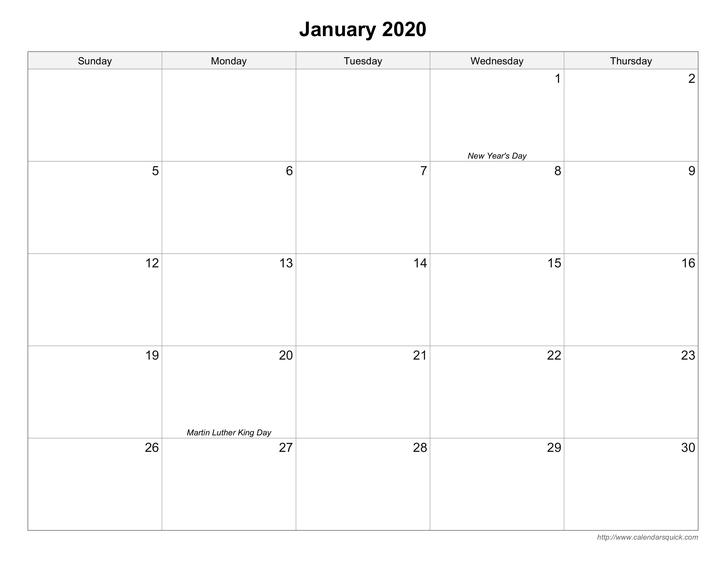Free Printable Calendars - Calendarsquick in Printable Calendar Large Spaces Image