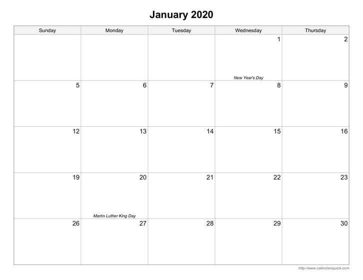 Free Printable Calendars - Calendarsquick throughout Printable Blank Monthly Calendar For 2020