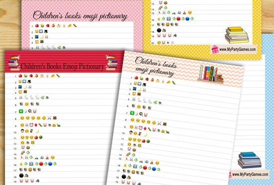 Free Printable Children's Books Emoji Pictionary Quiz For with Baby Guess Birthday Free Printable