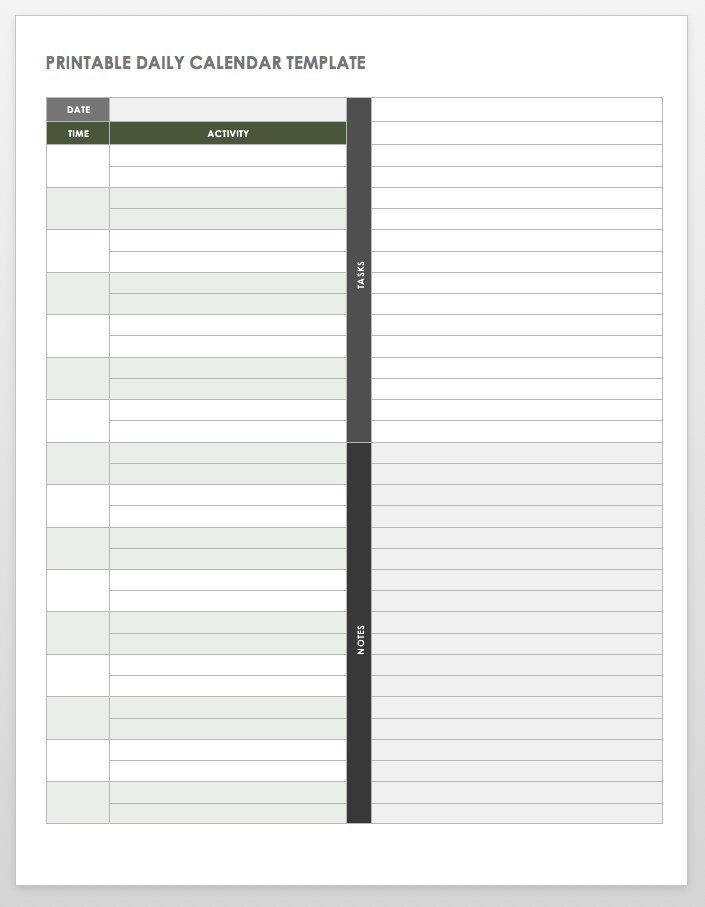 Free Printable Daily Calendar Templates | Smartsheet with Diary Template Printable Times Appointment