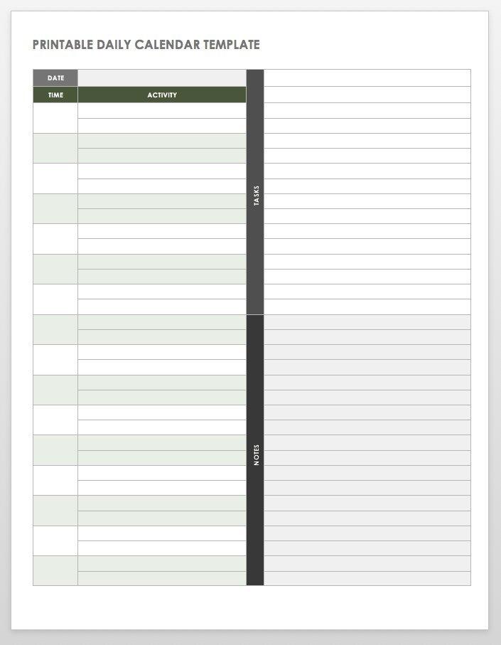 Free Printable Daily Calendar Templates | Smartsheet with Free Printable Short Timer Calander