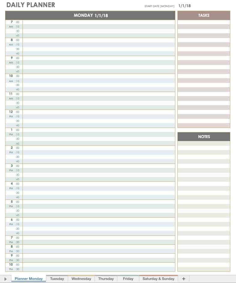 Free Printable Daily Calendar Templates | Smartsheet with regard to Diary Template Printable Times Appointment Image