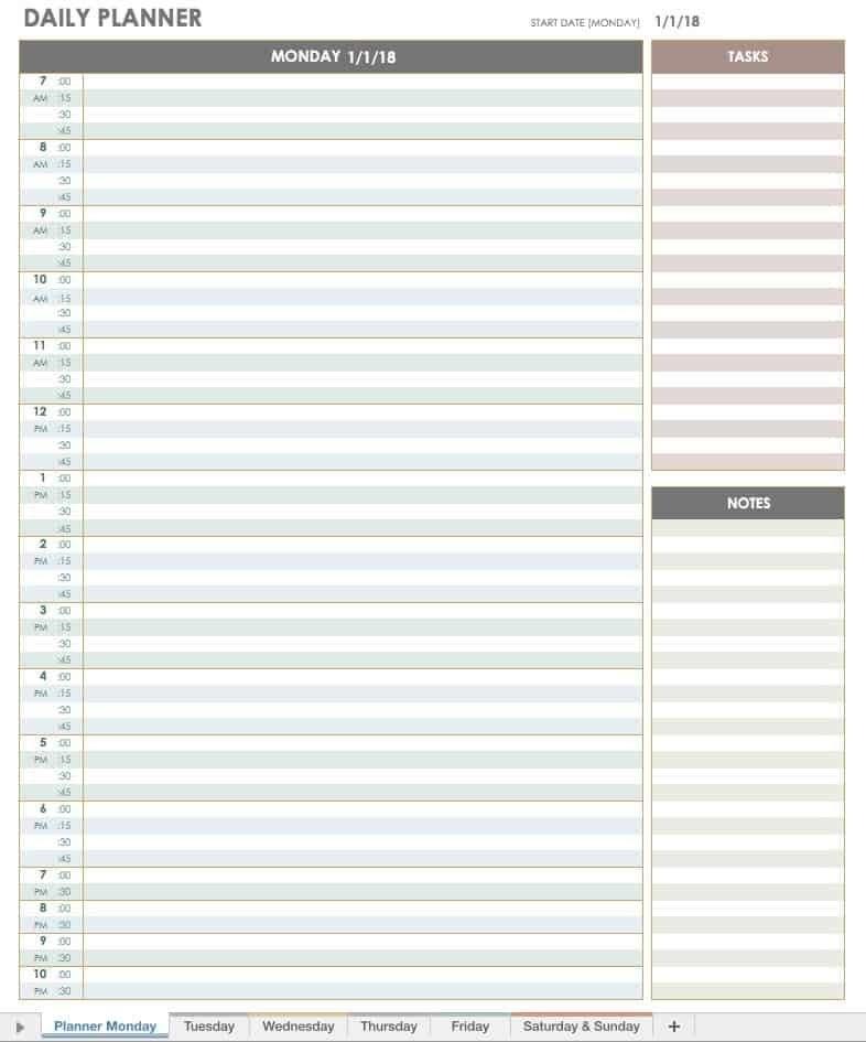 Free Printable Daily Calendar Templates | Smartsheet with regard to Single Day Calendar Template Image