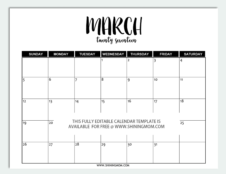 Free Printable: Fully Editable 2017 Calendar Templates In intended for Free Printable 11X17 November Calendar Template Image