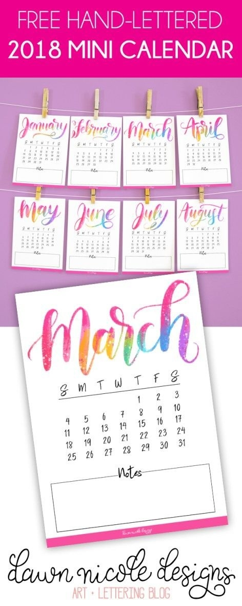 Free Printable Hand Lettered 2018 Mini Calendar | Mini pertaining to Small Pocket Size Calendar Booklet Free Template Image